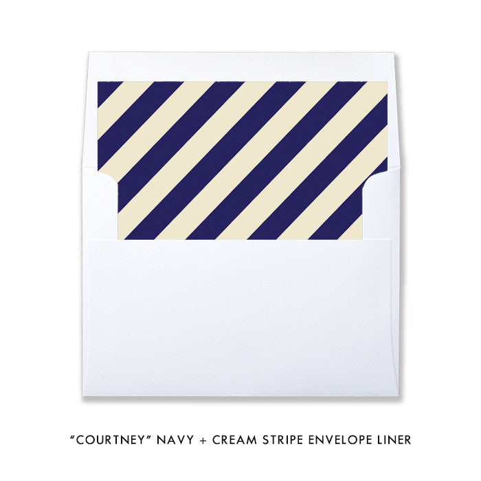 """Courtney"" Burlap + Navy Stripe Baptism Invitation"