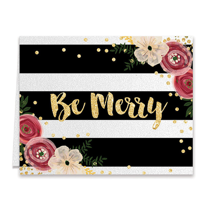 Be Merry Shimmer Holiday Greeting Card