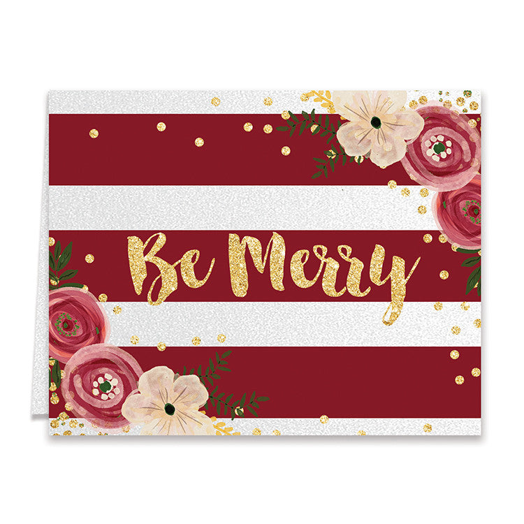 Red Stripe Be Merry Christmas Cards Boxed Greeting Card Set ...