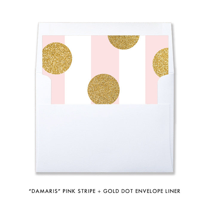 "Pink stripe + gold glitter dot ""Damaris"" envelope liner 