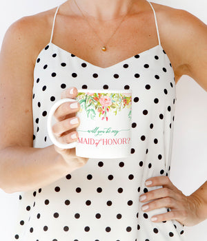 Floral Maid of Honor Proposal Mug
