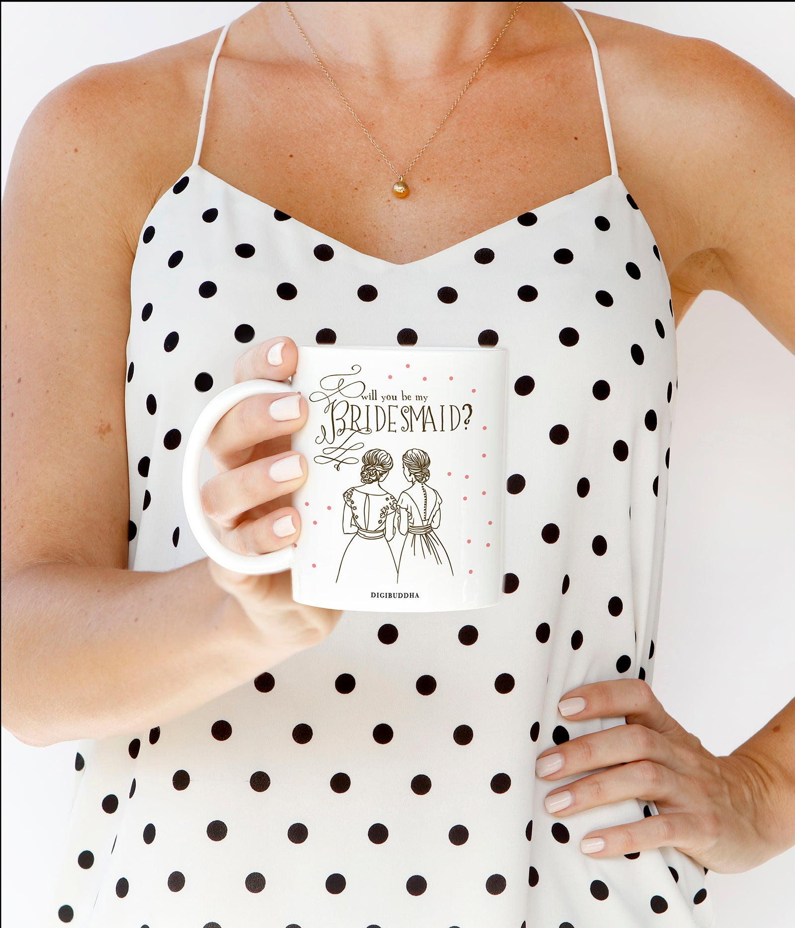 Pink Polka Dot Will You Be My Bridesmaid Mug