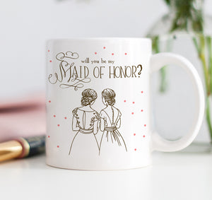 Pink Polka Dot Will You Be My Maid of Honor Mug