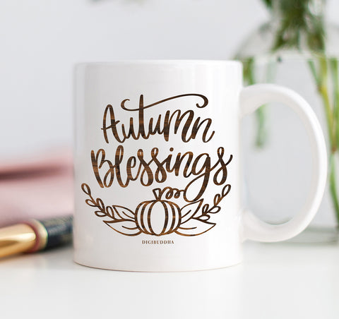 Autumn Blessings Wood Grain Mug