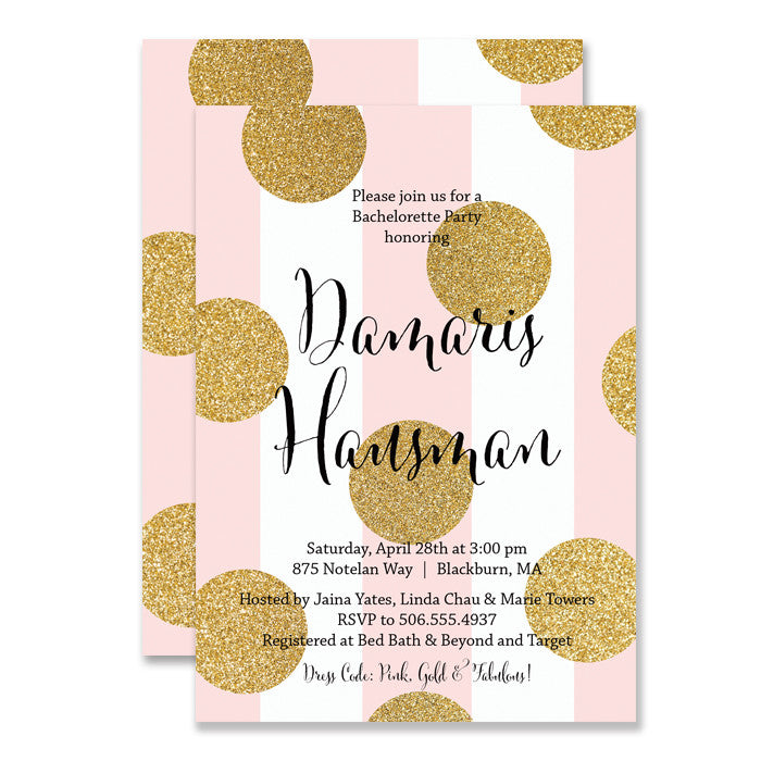 "Pink stripe + Gold glitter dot ""Damaris"" bachelorette party invitation 