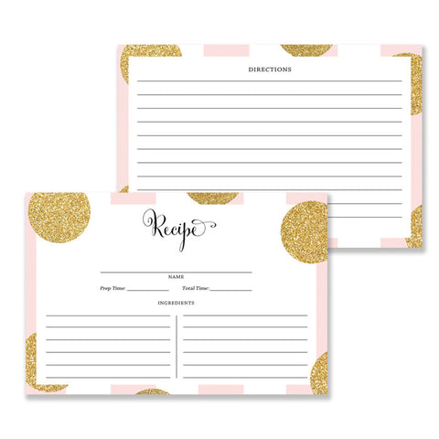 Pink Stripe + Gold Dot Recipe Cards Gift Set | Damaris