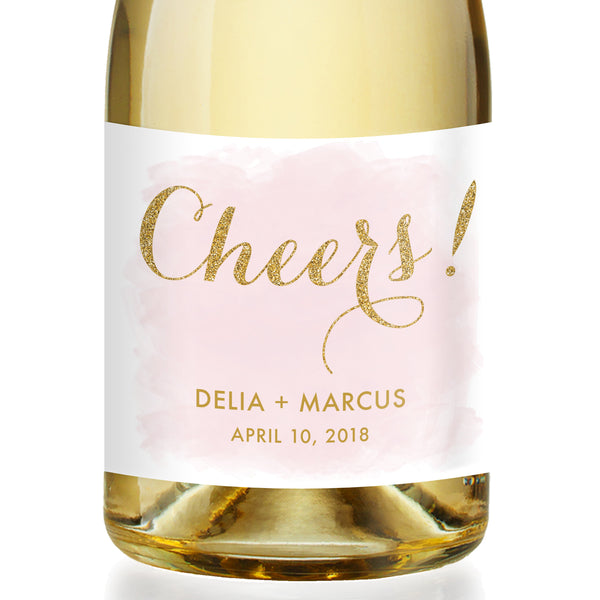 """Delia"" Blush + Gold Wedding Champagne Labels"
