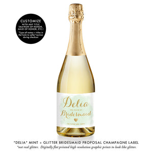 """Delia"" Mint + Gold Bridesmaid Proposal Champagne Labels"