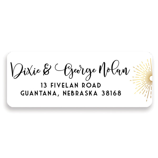 Gold Sunburst Address Labels | Dixie