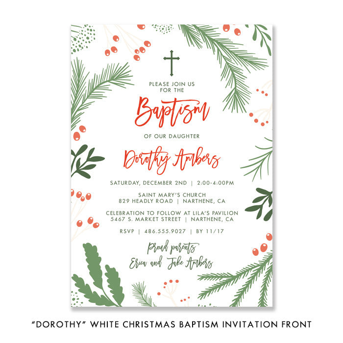 """Dorothy"" White Christmas Baptism Invitation"