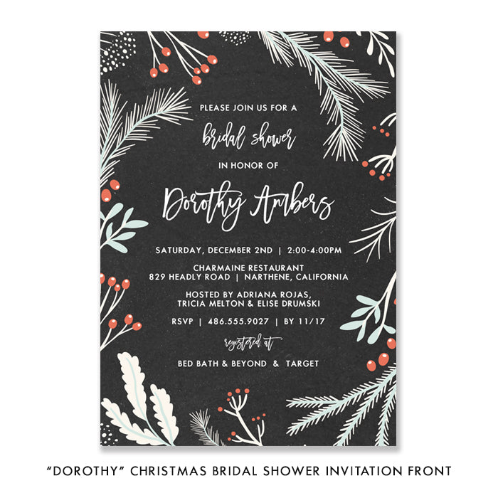 """Dorothy"" Chalkboard Bridal Shower Invitation"