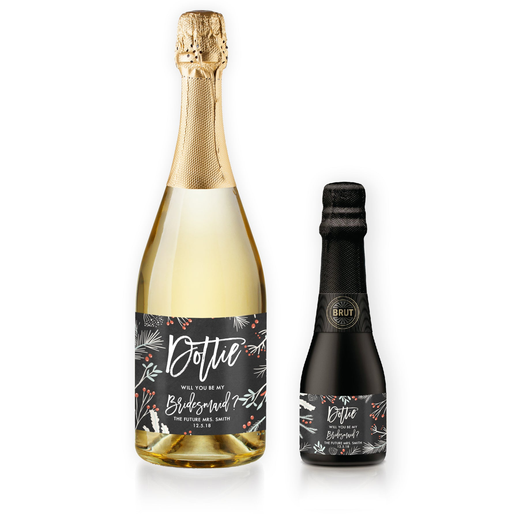 """Dorothy"" Chalkboard Holiday Bridesmaid Proposal Champagne Labels"