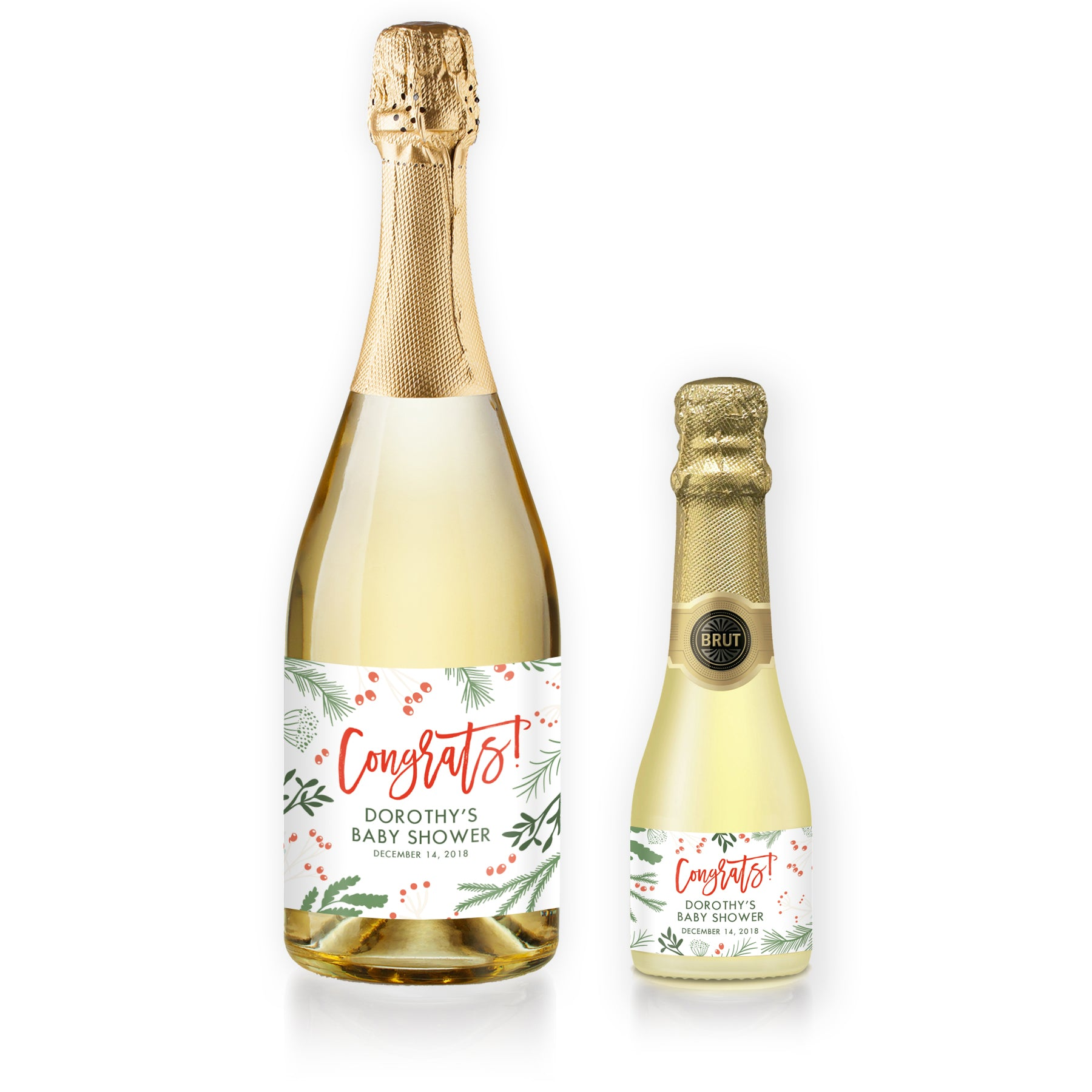 """Dorothy"" White Holiday Baby Shower Champagne Labels"