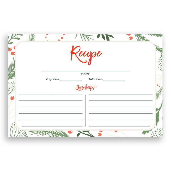 Holiday Recipe Cards |  Dorothy White