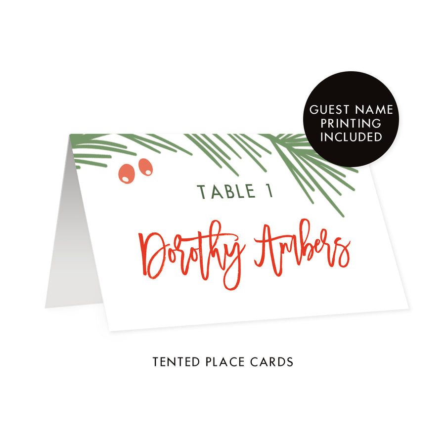 White Holiday Place Cards | Dorothy