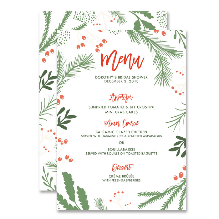 """Dorothy"" White Holiday Bridal Shower Menu"