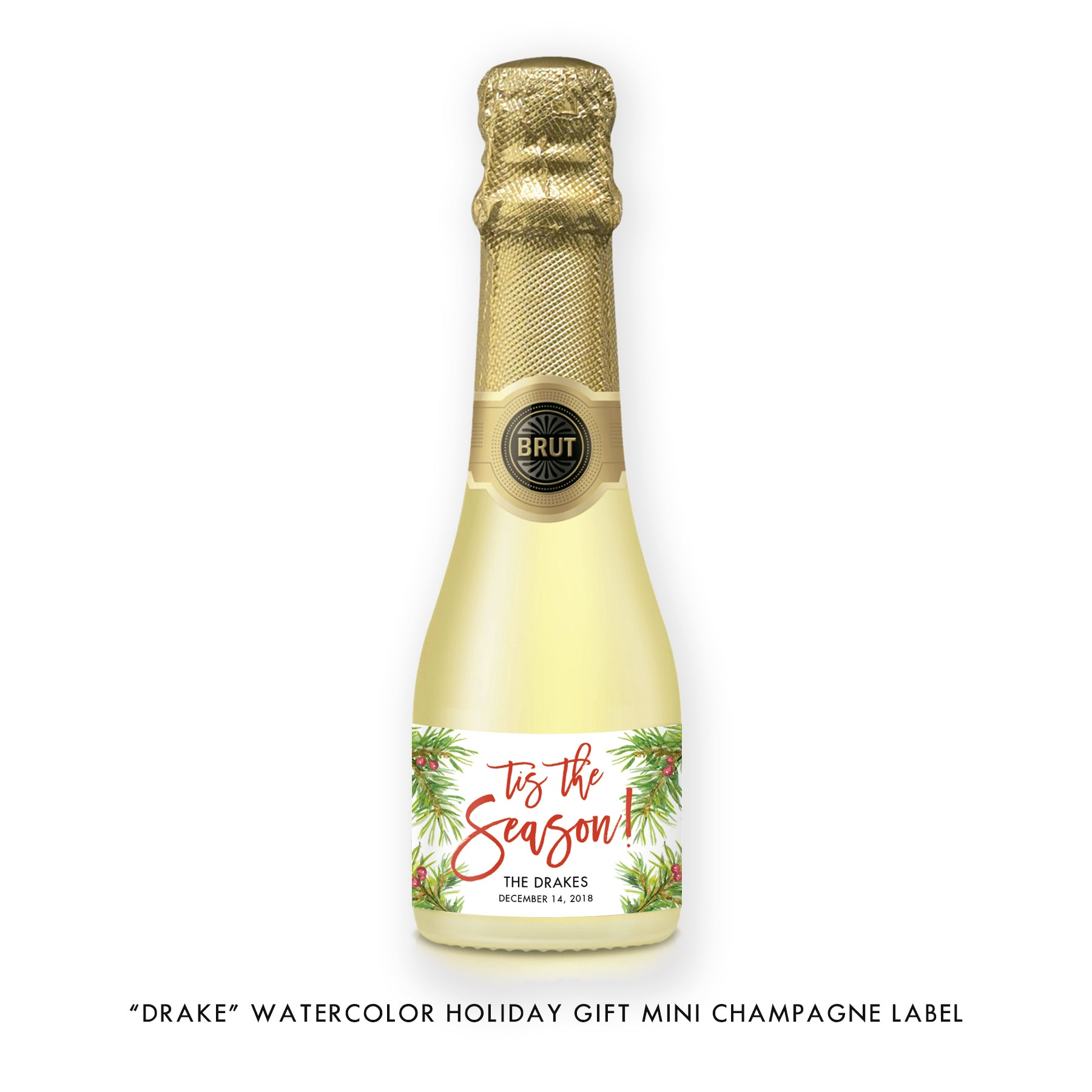 """Drake"" Watercolor Holiday Champagne Labels"