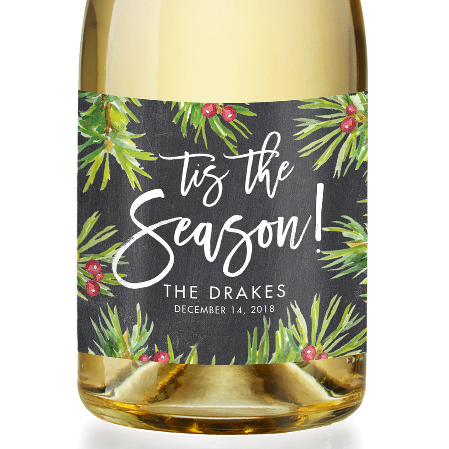 """Drake"" Chalkboard Holiday Champagne Labels"