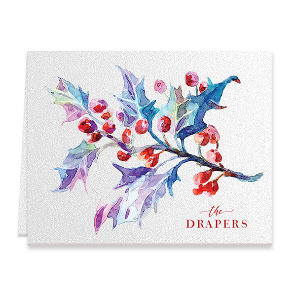 Watercolor Mistletoe Personalized Boxed Holiday Cards | Draper