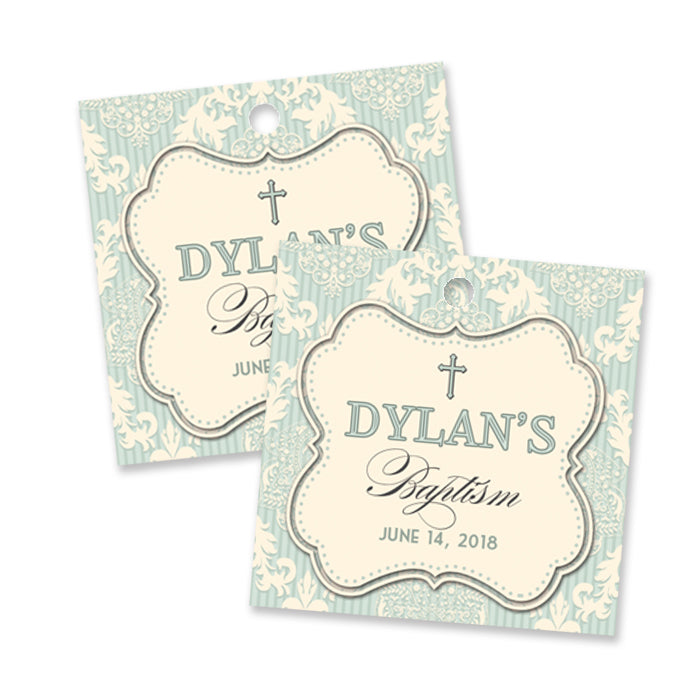 """Dylan"" Blue Damask Baptism Favor Tags"
