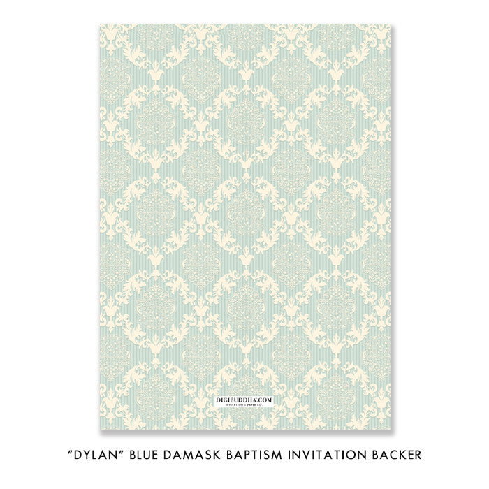 """Dylan"" Blue Damask Christening Invitation"