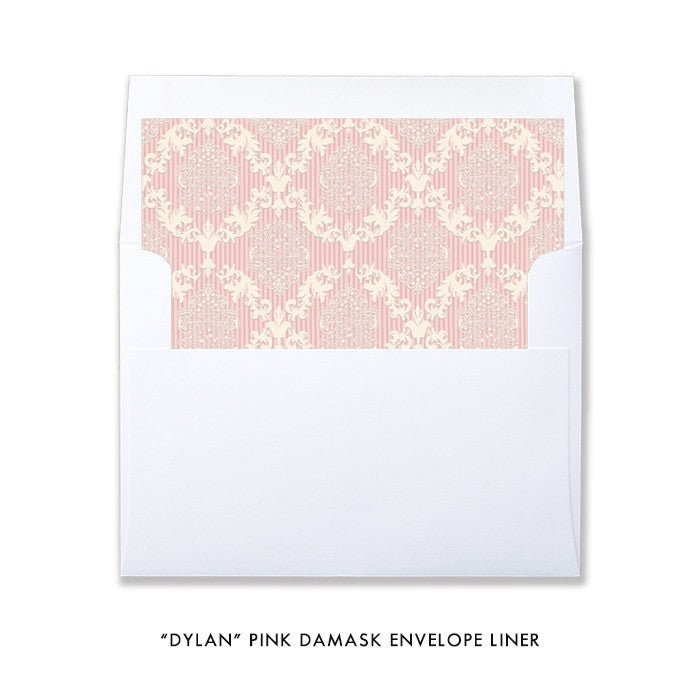 """Dylan"" Pink Damask Christening Invitation"