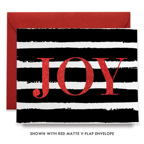 Black Stripe Red Joy Boxed Holiday Cards | Eaton