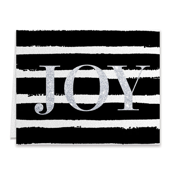 Black Stripe Silver Joy Boxed Holiday Cards | Eaton