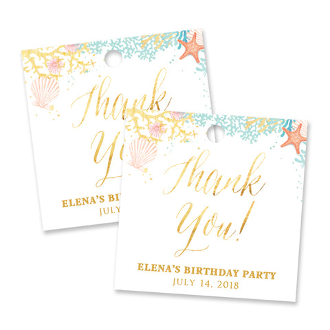"""Elena"" Beach Birthday Party Favor Tags"