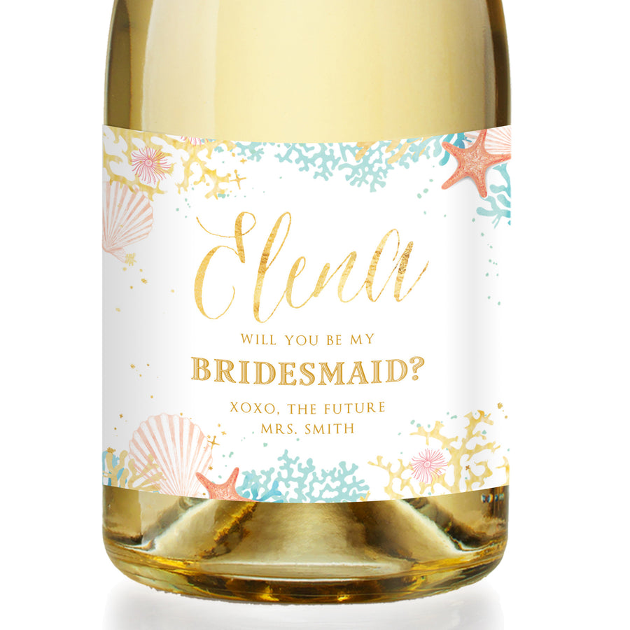 """Elena"" Beach Bridesmaid Proposal Champagne Labels"