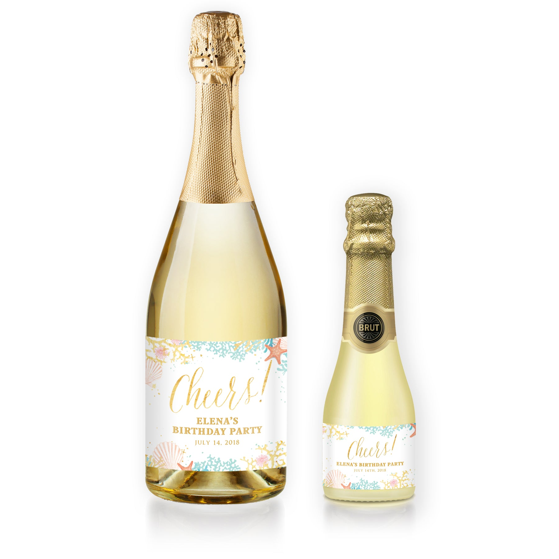 """Elena"" Beach Birthday Party Champagne Labels"