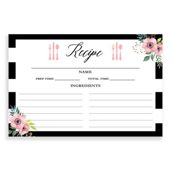 Floral + Stripe Set of 25 Recipe Cards
