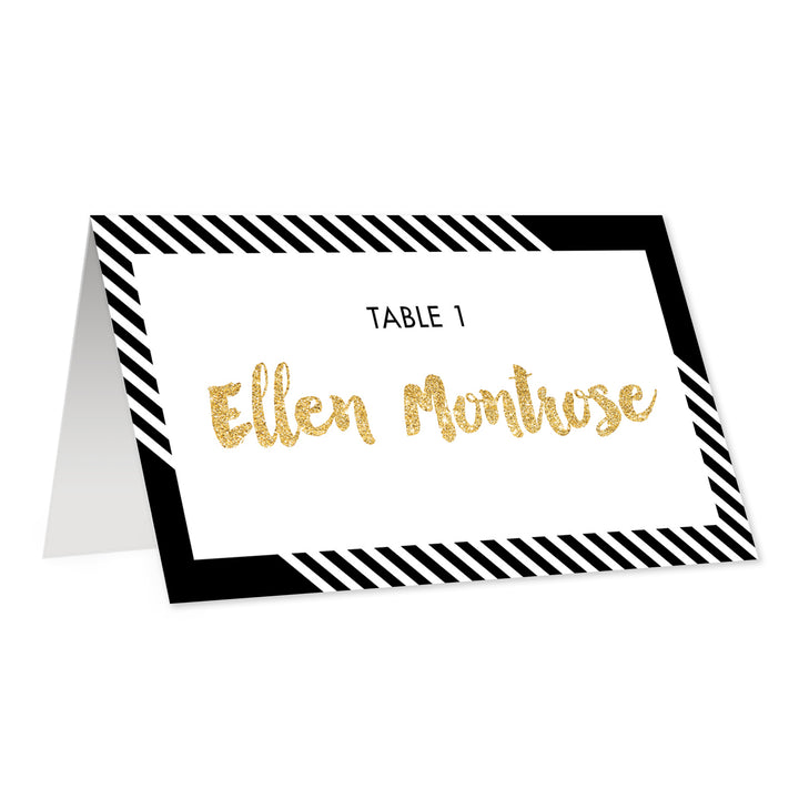 Black + White Striped Place Cards | Ellen
