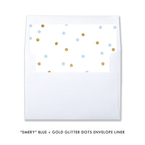"""Emery"" Blue + Gold Glitter Dots Baby Sprinkle Invitation"