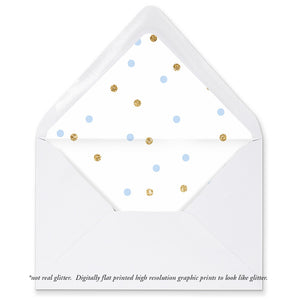 """Emery"" Blue + Gold Dots Envelope Liners"
