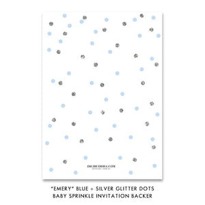"""Emery"" Blue + Silver Glitter Dots Baby Sprinkle Invitation"