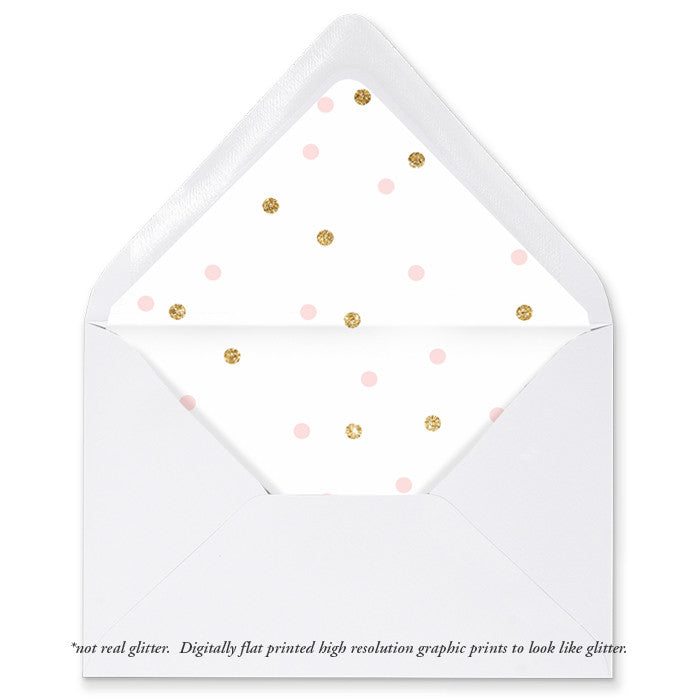 """Emery"" Pink + Gold Dots Envelope Liners"