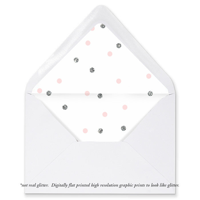 """Emery"" Pink + Silver Dots Envelope Liners"