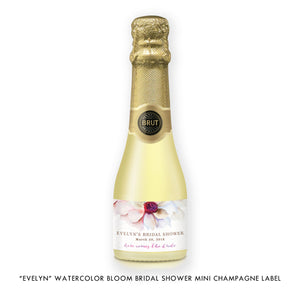 """Evelyn"" Watercolor Bloom Bridal Shower Champagne Labels"
