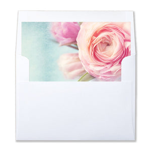 """Evelyn"" Pink Peony Envelope Liners"