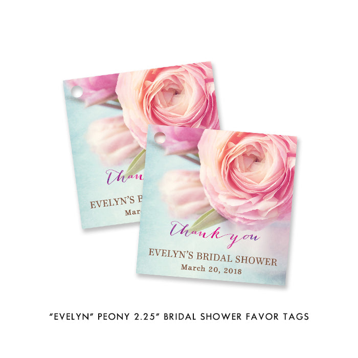 """Evelyn"" Aqua + Peony Bridal Shower Invitation"