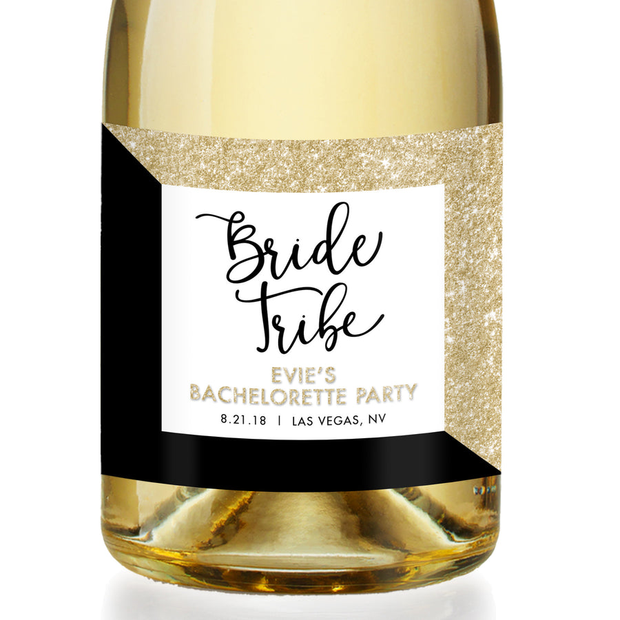 """Evie"" Gold Glitter + Black Bachelorette Party Champagne Labels"