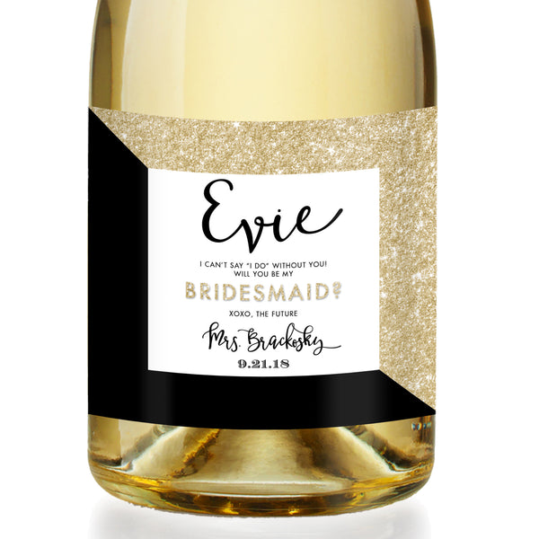 """Evie"" Gold Glitter + Black Bridesmaid Proposal Champagne Labels"