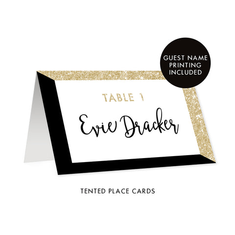 Black + Gold Glitter Place Cards Evie