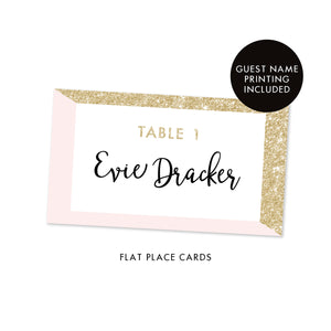 Blush + Gold Glitter Place Cards Evie