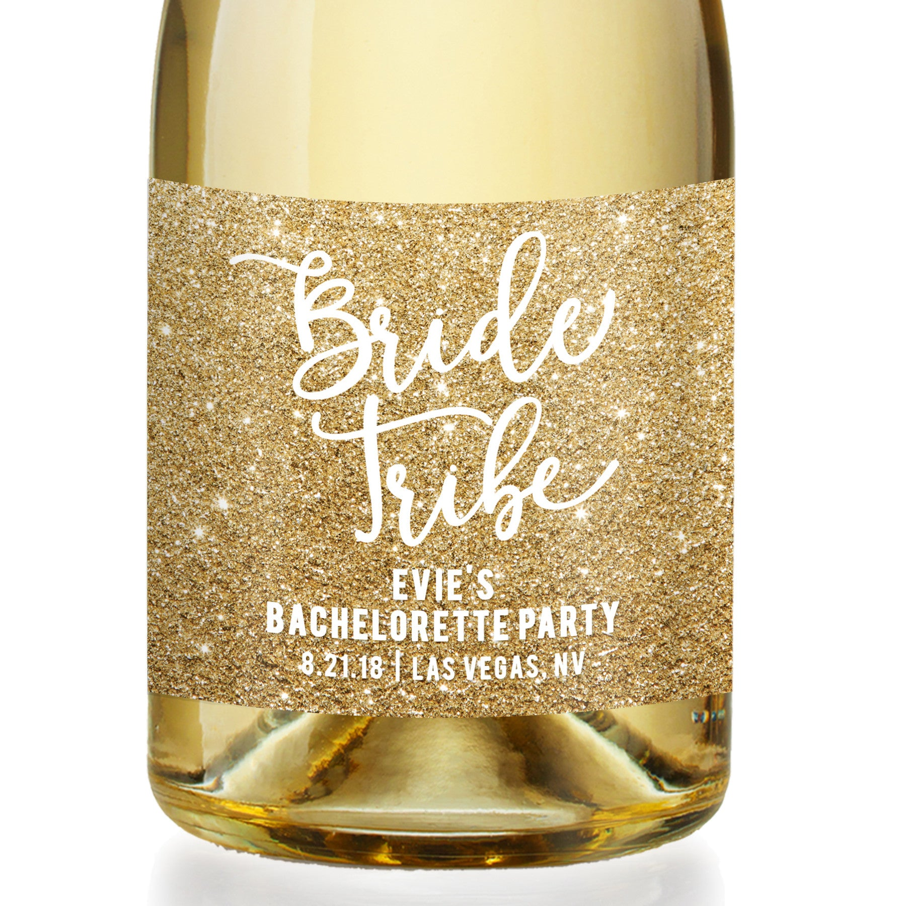 """Evie"" Gold Glitter Bachelorette Party Champagne Labels"