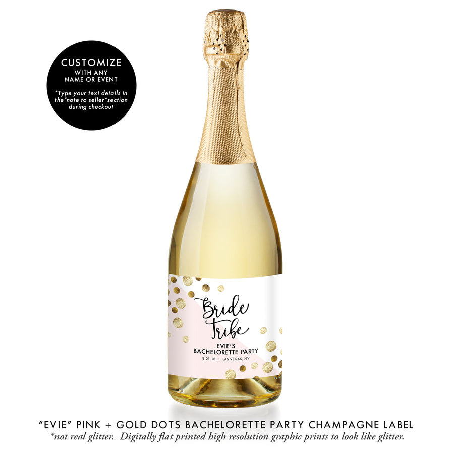 """Evie"" Gold Glitter + Pink Bachelorette Party Champagne Labels"