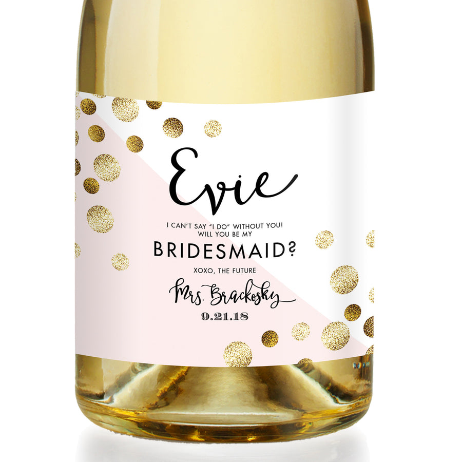 """Evie"" Pink + Gold Dots Bridesmaid Proposal Champagne Labels"
