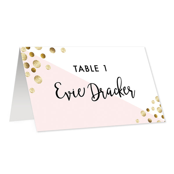 Blush + Gold Glitter Dots Place Cards Evie