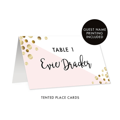 ... Blush + Gold Glitter Dots Place Cards Evie  sc 1 st  Digibuddha & Place Cards | Digibuddha